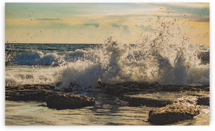 rocky coast sea wave sunset by Shamudy