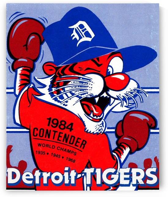 vintage detroit tigers poster retro sports art 1980s posters by Row One Brand