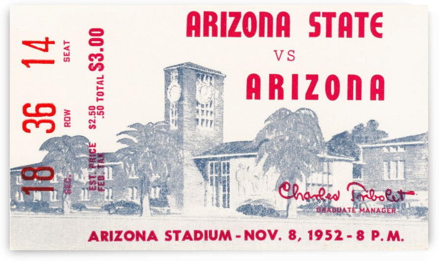 1952 Arizona State vs. Arizona  by Row One Brand
