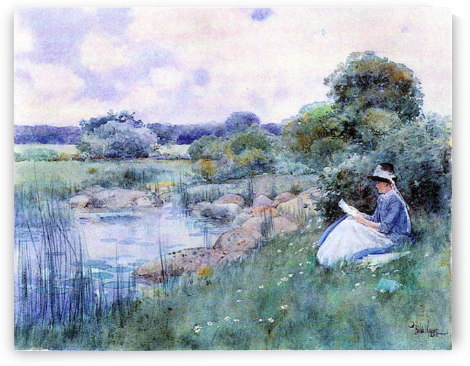 Woman reading by Hassam by Hassam