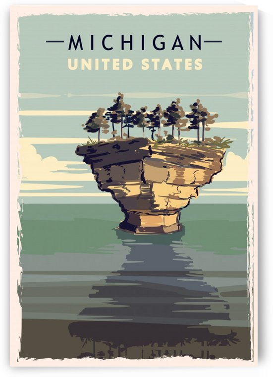 michigan retro poster usa michigan travel illustration united states america by Shamudy
