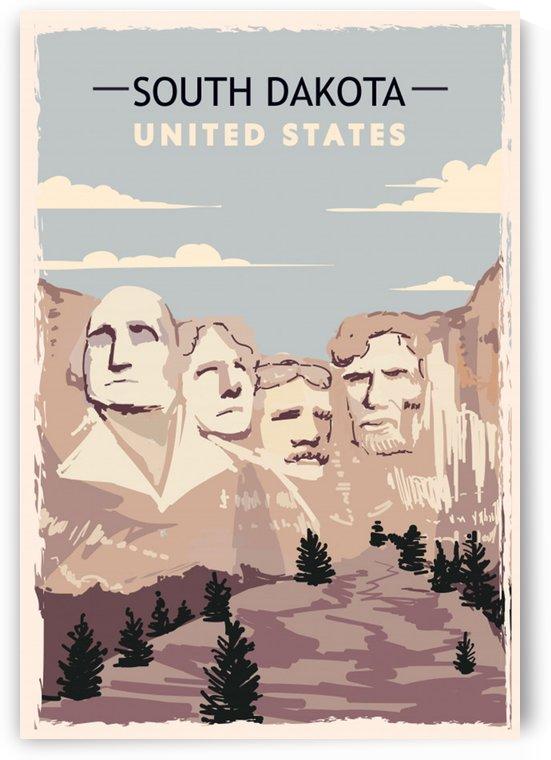 south dakota retro poster usa south dakota travel illustration united states america by Shamudy