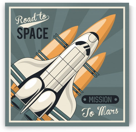 Life space poster with mars rocket rockets vintage by Shamudy
