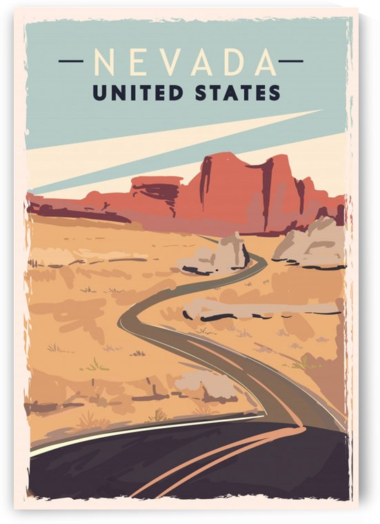 nevada retro poster usa nevada travel illustration united states america by Shamudy