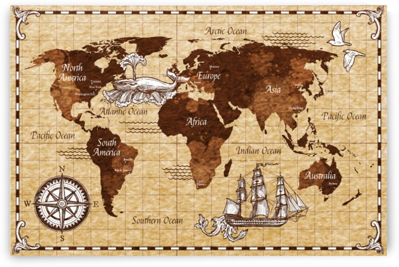 Vintage old classic antique retro map by Shamudy