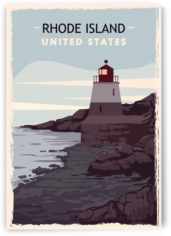 Rhode island retro poster usa rhode island travel illustration united states america by Shamudy