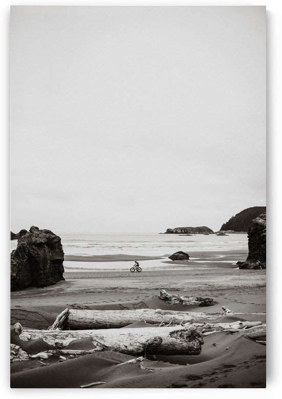 Cyclist on the beach B&W by StephanieAllard
