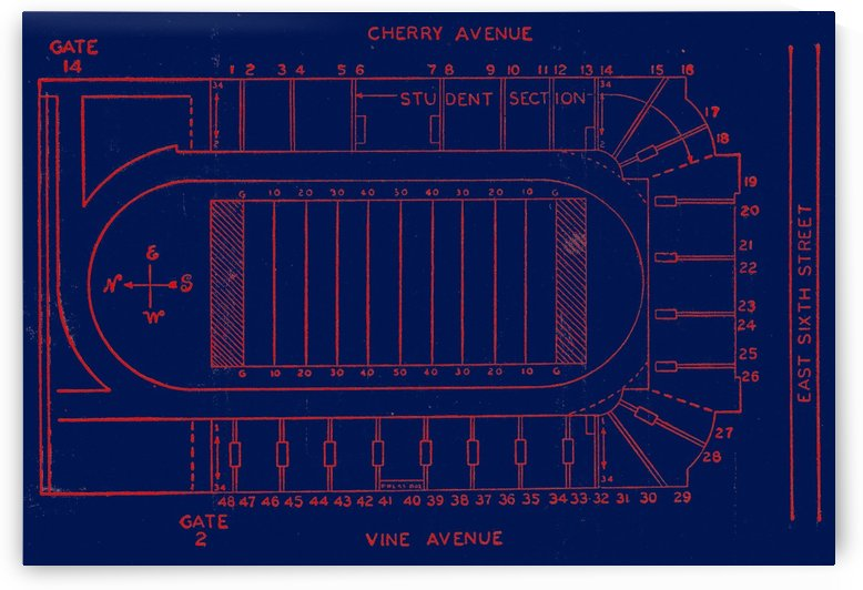1952 Arizona Stadium Map by Row One Brand