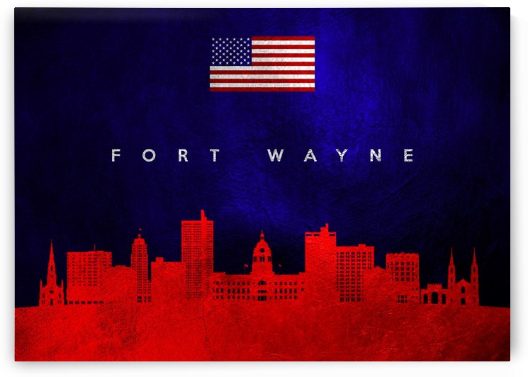 Fort Wayne Indiana Skyline Wall Art by ABConcepts