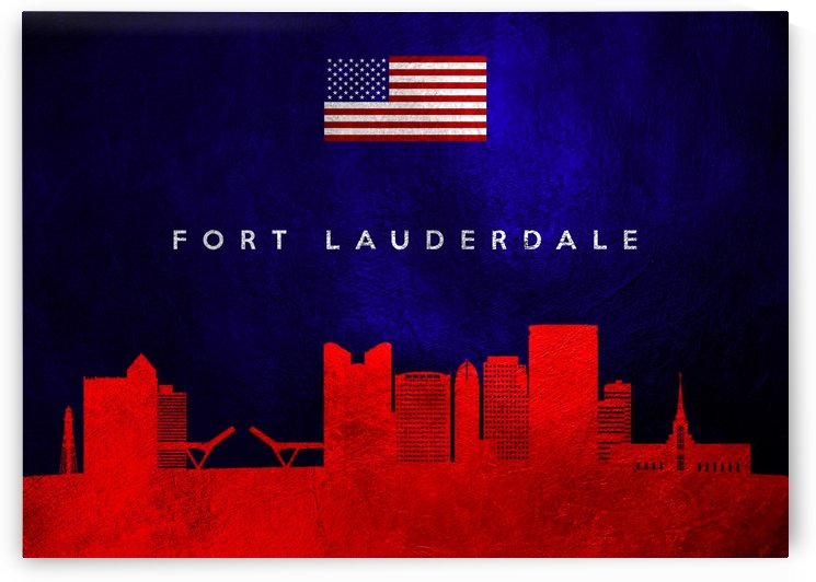 Fort Lauderdale Florida Skyline Wall Art by ABConcepts