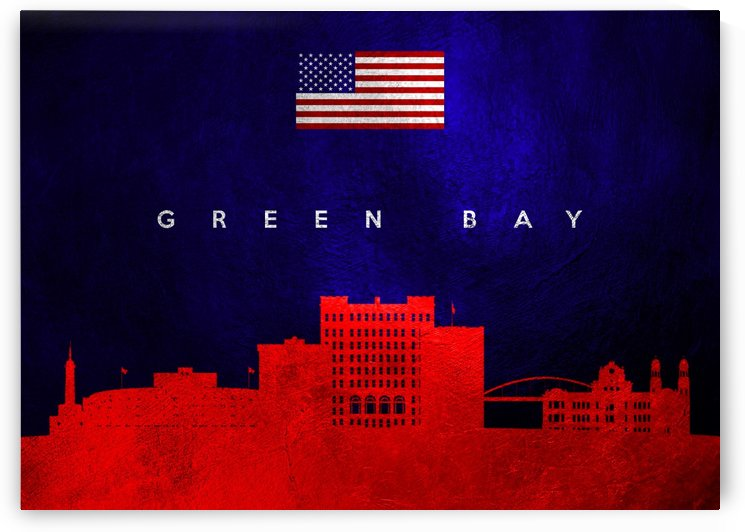 Green Bay Wisconsin Skyline Wall Art by ABConcepts