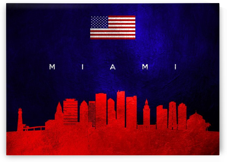 Miami Florida Skyline Wall Art by ABConcepts
