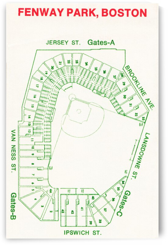 1969 Fenway Park Map by Row One Brand