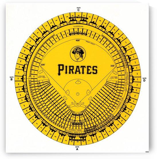 1977 Pittsburgh Pirates Three Rivers Stadium Poster by Row One Brand