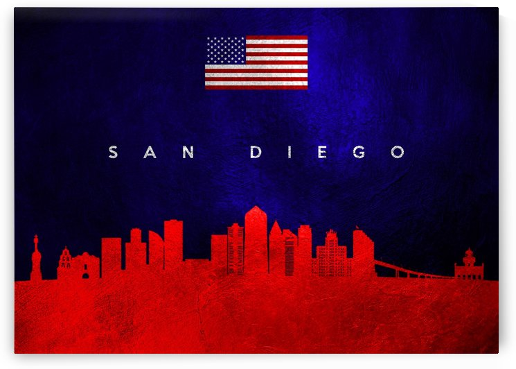 San Diego California Skyline Wall Art by ABConcepts