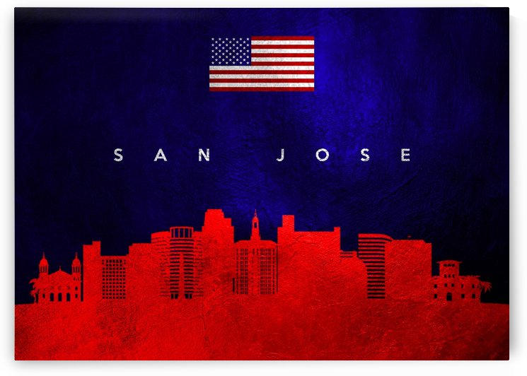 San Jose California Skyline Wall Art by ABConcepts