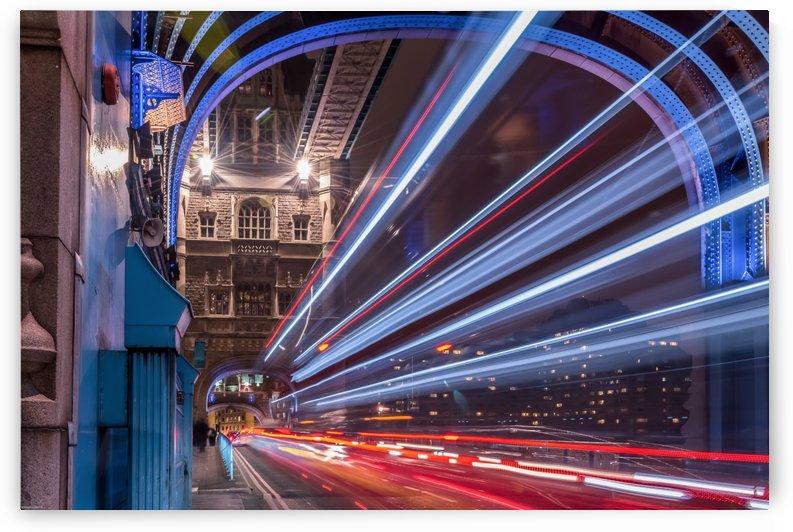 Light trails along Tower Bridge London by RezieMart
