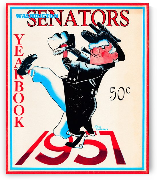artist zang auerbach 1957 washington senators yearbook mr senator art by Row One Brand