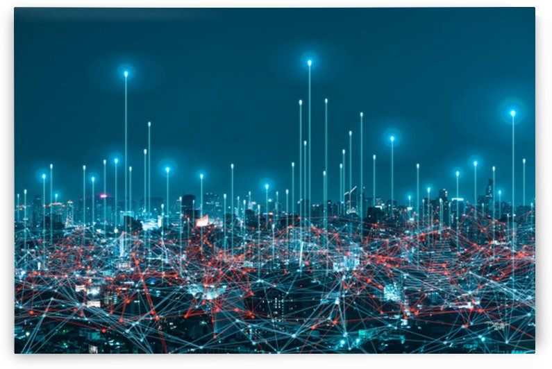 network digital hologram internet things city background 5g network wireless systems by Shamudy