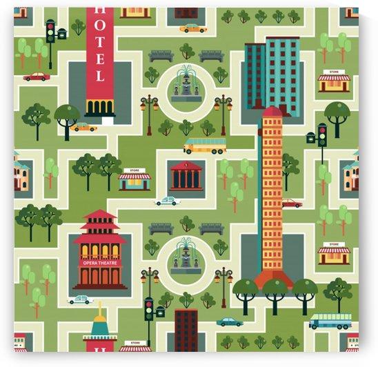 city seamless pattern by Shamudy