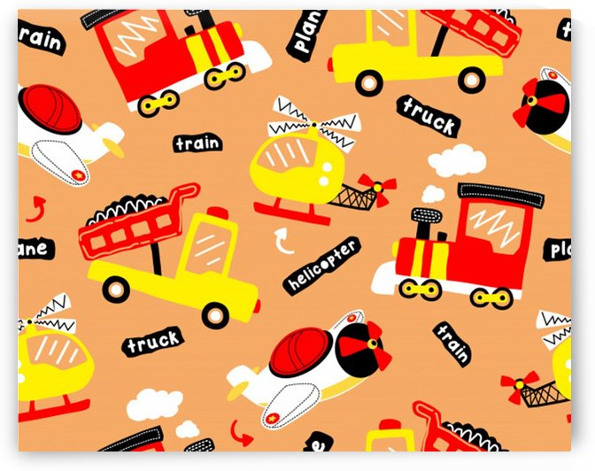 seamless pattern cartoon with transportation vehicles by Shamudy