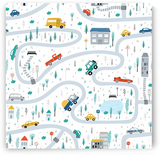 cute children s seamless pattern with cars road park houses white background illustration town cartoon style by Shamudy