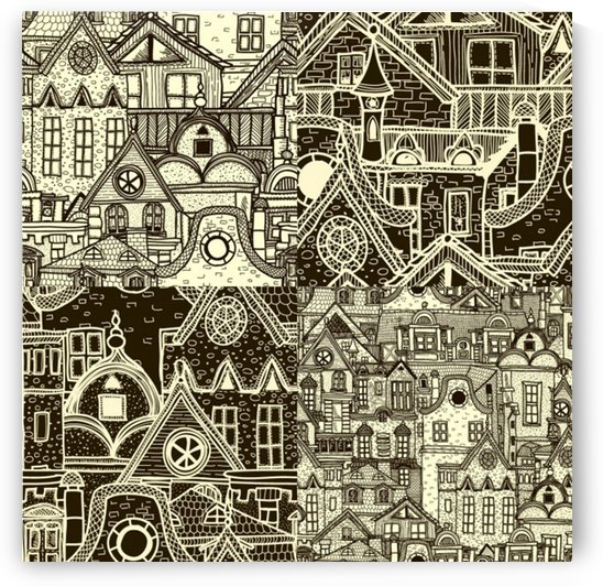 four hand drawn city patterns by Shamudy