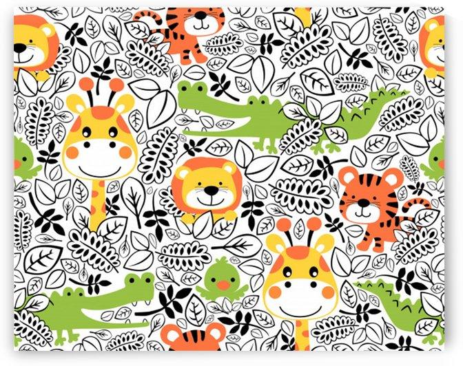 seamless pattern with wildlife cartoon by Shamudy
