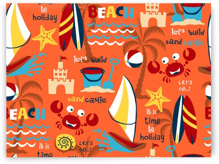 seamless pattern vector beach holiday theme set by Shamudy