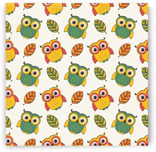 background with owls leaves pattern by Shamudy