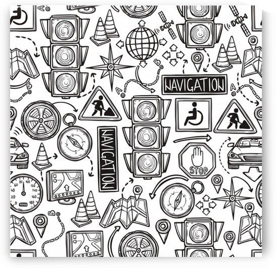 navigation seamless pattern by Shamudy