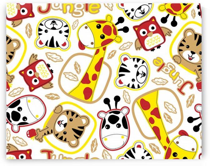 vector seamless pattern nice animals cartoon by Shamudy