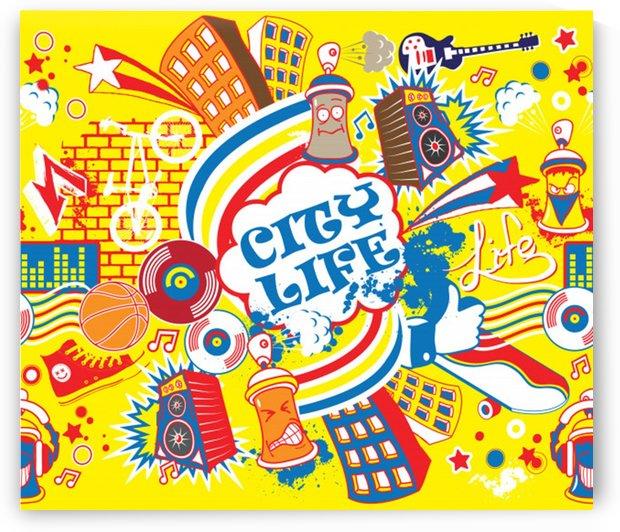 colorful city life horizontal seamless pattern urban city by Shamudy