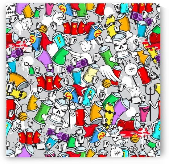 graffiti characters seamless pattern by Shamudy