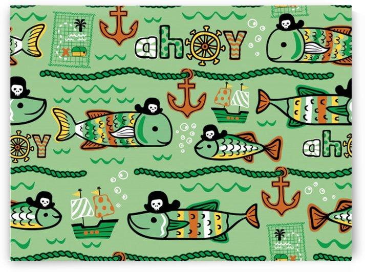 seamless pattern fishes pirates cartoon by Shamudy