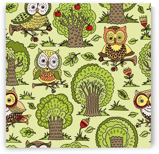 seamless pattern with trees owls by Shamudy