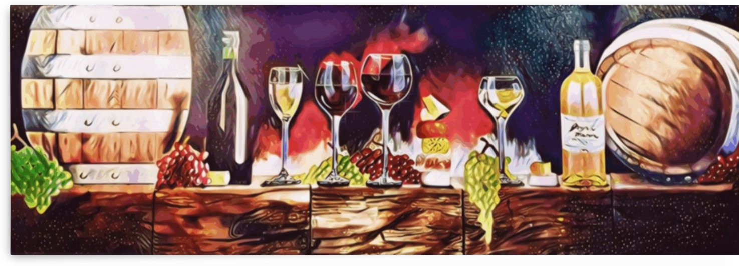 Divine Taste - wine cheese and grape painting by Jaycrave Designs