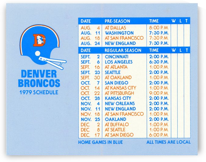 football schedule poster 1979 denver broncos wall art by Row One Brand