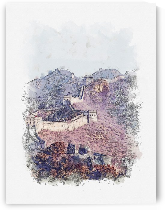 Great Wall of China Watercolor 01 by Apolo Prints