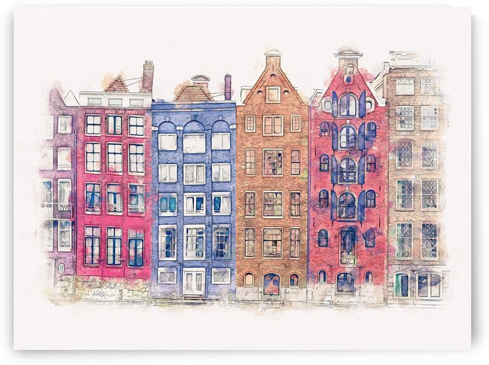 Amsterdam Buildings Watercolor 01 by Apolo Prints