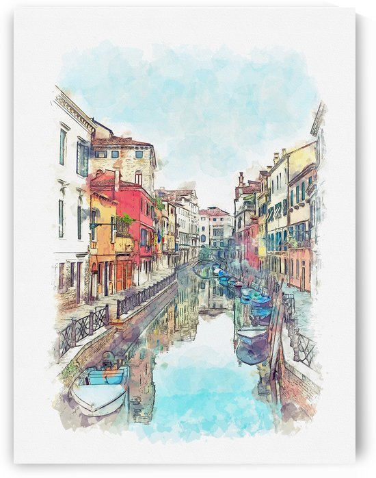 Venice Italy Watercolor 02 by Apolo Prints