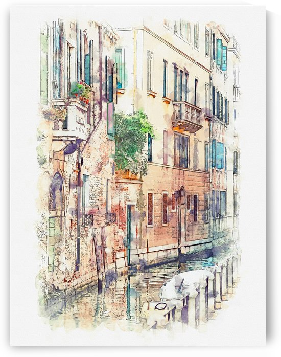 Venice Italy Watercolor 01 by Apolo Prints