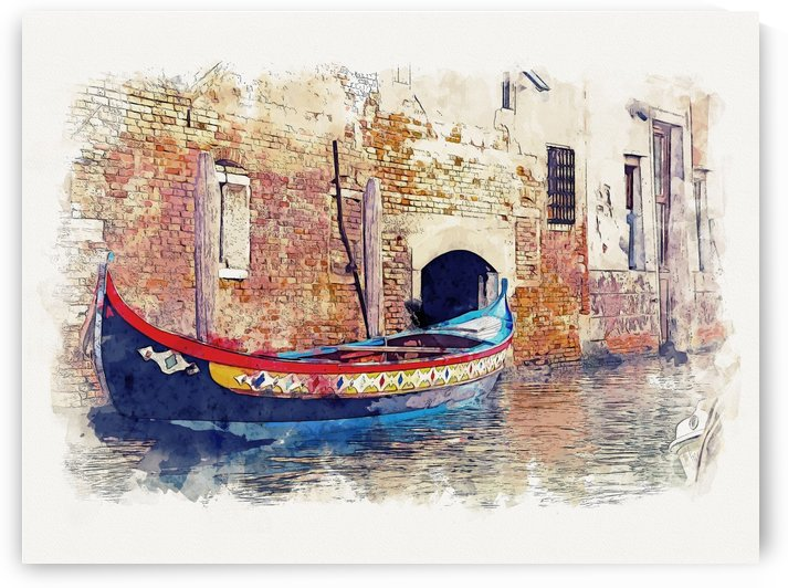 Venice Italy Watercolor 03 by Apolo Prints