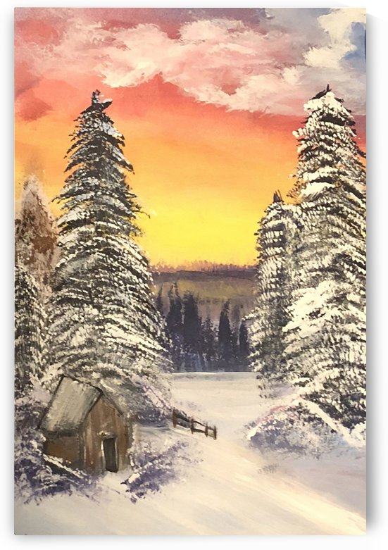 Snow At Sunset by Jacqueline Sleter