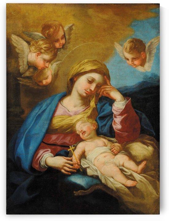 Madonna con Bambino e teste di Cherubino by Luca Giordano