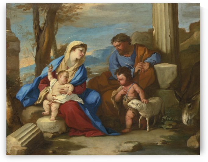 Holy Family with young Saint John The Baptist by Luca Giordano