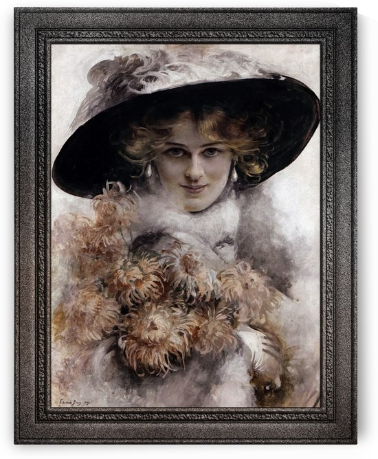 A Portrait Of A Lady In A Black Hat With A Bouquet Of Flowers In Her Arms by Edouard Bisson by xzendor7