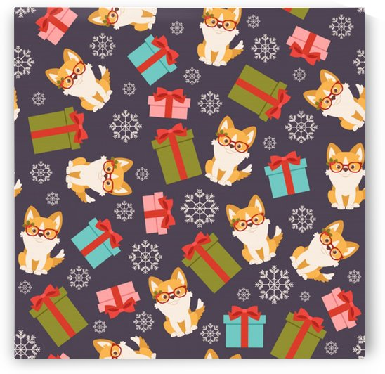 welsh corgi dog with gift boxes seamless pattern wallpaper by Shamudy