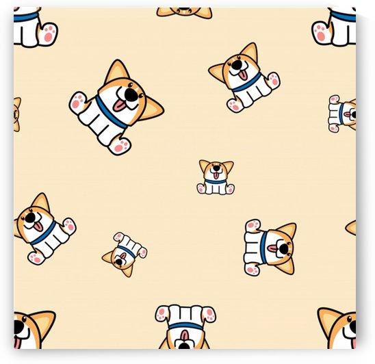 cute welsh corgi puppy sitting seamless pattern by Shamudy