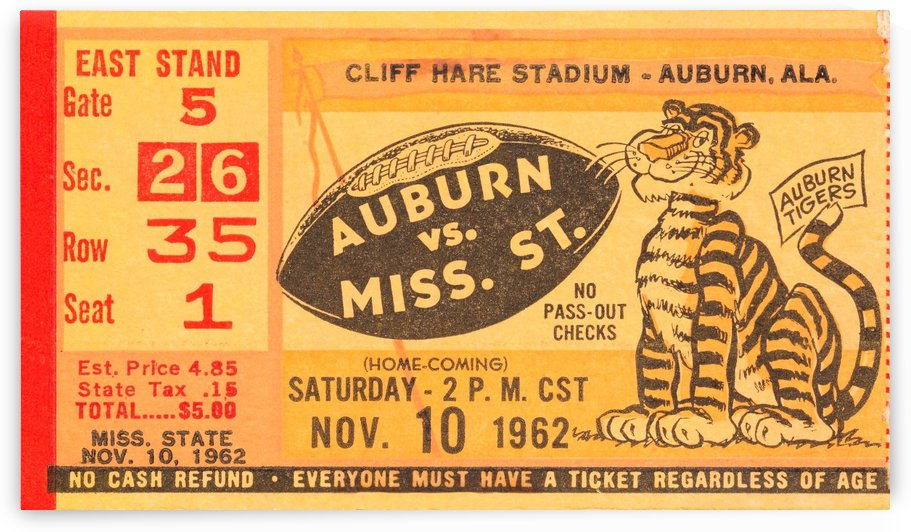 1962 Auburn vs. Mississippi State  by Row One Brand